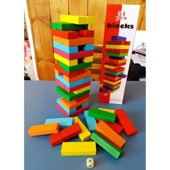 Wooden Jenga Colored Building Blocks - Educational and Therapeutic Toy - 4