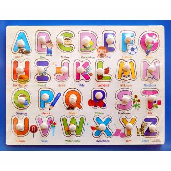 Wooden Pegged Board Upper Case Alphabet Puzzle 2