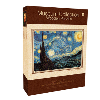 Wooden puzzle adult starry world famous paintings puzzle Landscape Oil Painting