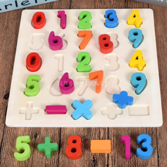 Wooden puzzle with numbers and her daughter hand grasping puzzle