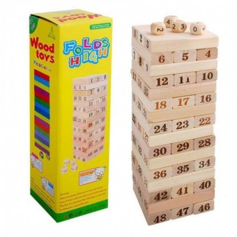 Wooden Toy 48 pieces Digital Jenga Multiplayer Game Block Bricks Folds High Tumbling Tower Classic Stacking game Children baby kids Toy - Intl