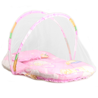 YBC Baby Folding Cradle Bed Mosquito Insect Net Infant Cushion Mattress with Pillow Pink