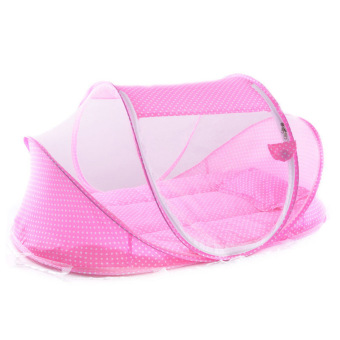 YBC Foldable Soft Baby Mosquito Net Crib Bedding With Pillow MatSetat Pink - intl