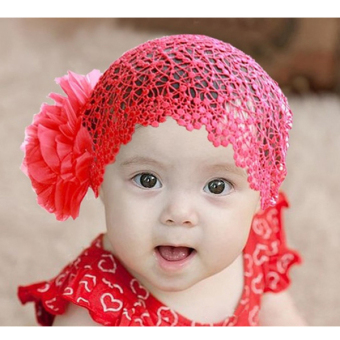 YBC Newborn Elastic Flower Headband Hairband Hair Accessories For Baby Kid Girl Red