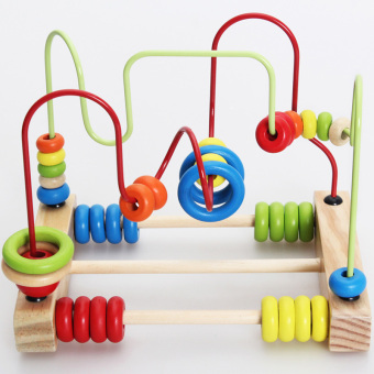 YBC Wooden Round Moving Beads Toy Developmental Game Toy for Kids Children