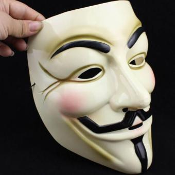 Yellow V For Vendetta Mask Guy Fawkes Anonymous Halloween Masks Fancy Costume - intl