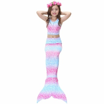 Yika 2017 Kids Girls Swimmable Mermaid Tail Swimsuit Bikini Swimwear Swimming Costume Size:140 - intl