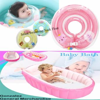 YT-226A Inflatable Baby Bath Tub (Pink) with Baby Infant SwimmingAid Protector Neck Float Ring Safety Life Saver (Pink)