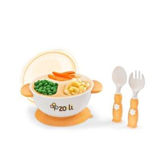 Zoli Stuck Suction Feeding Bowl Kit Set (Orange)
