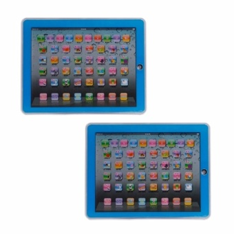 Zover Set of 2 Y-Pad English Children's Toy Computer Tablet w/ 4Modes, Volume and On/Off Buttons, Learn & Play, Lights &Sounds (Blue)