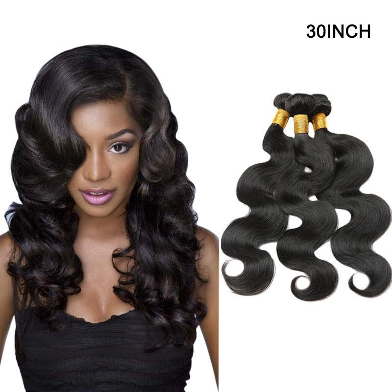 ... 1 Bundle Body Long Curly Wave Lace Closure Human Hair Wig 30 Inch -intl ...
