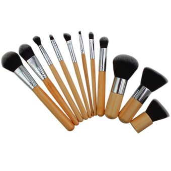 11pcs Wood Handle Makeup Sets Cosmetic Eyeshadow Foundation Concealer Brush Sets