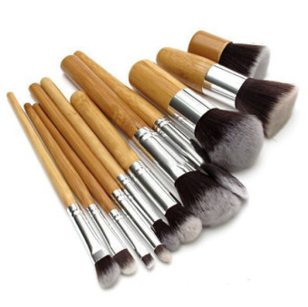 11Pcs/Set Wood Handle Makeup Make Up Cosmetic Eyeshadow FoundationConcealer Brush Set 1Nai