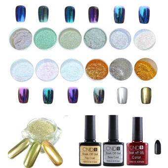 12 Colors Nail Art Shinning Mirror Glitter Powder Chrome Pigment Black Gel Coat - intl