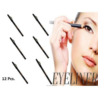 12 Pcs. Long-lasting Waterproof Eye & Lip Liner Pencil (Black) 55g