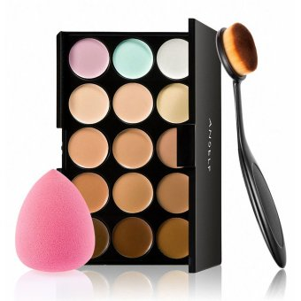 15 Colors Make Up Cream Facial Camouflage Concealer Make Up Palette with Sponge Puff Oval Makeup Brush for Cosmetic Foundation Powder - intl