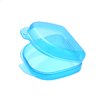 1Pc Dental Orthodontic Retainer Plastic Tray Box Teeth Container Dental Box False Tooth Box Denture Box Blue