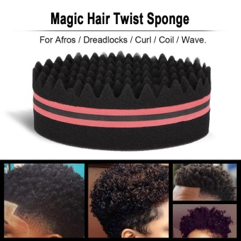 1Pc Oval Brush for Afros Dreadlocks Curl Coil Wave Double-sided Hair Twist Sponge Magic Hair Braider Blue - intl