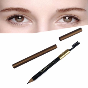2 in 1 Long-lasting Black Eyebrow Pencil with Eyebrow Brush Pencil 7g