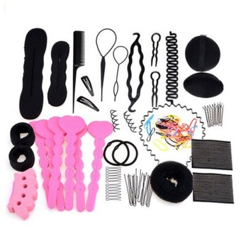 20 PCS Kit Women Lady Girls DIY Hair Styling Maker Accessories Set Hair Braider Hairpins Clips Hair Bun Donut Insert Headband Beauty Tool