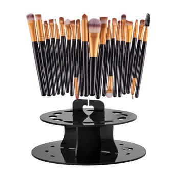 20PC Cosmetic Makeup Sets Brush Lip Makeup Brush Eyeshadow Brushblack with Oval Makeup Brush Set Holder black