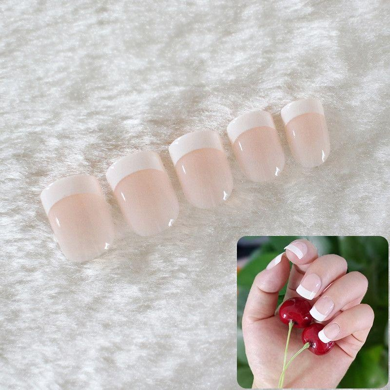 24pcs Acrylic Design False French Nails Full Nail tips Fake Art ...