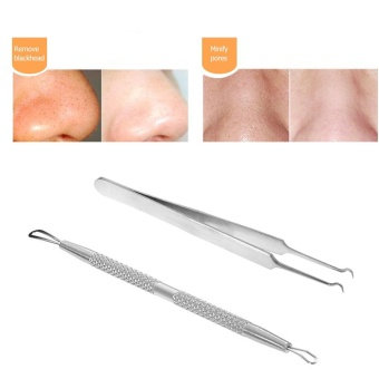 2pcs Blackhead Tool Curved Acne Clip Facial Pimple Tweezer ComedoneCleaner Stainless Steel Blemish Extractor Remover Set - intl - 3