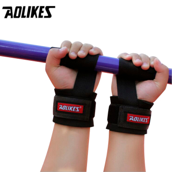2pcs No-Slip Thicken Gym Training Weight Lifting Gloves Bar GripBarbell Straps Wraps Hand with Wrist Support for Protection - intl