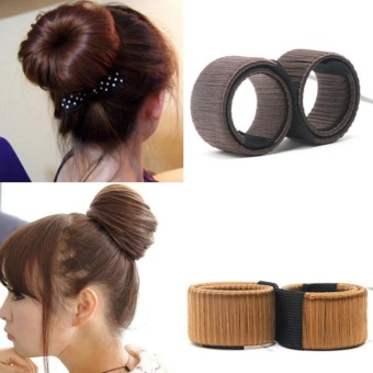 2pcs Synthetic Wig Donuts Bud Head Band Ball French Twist Magic DIY Tool Bun Maker French Dish Made Hair Accessories - intl