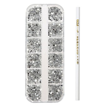 3000X 3D Acrylic 2mm UV Rhinestones Gems Studs DIY Nail Art Decoration Set + Pen Clear
