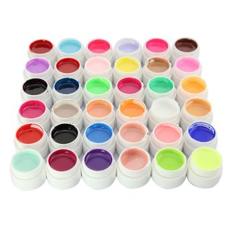 36 Pots Pure Colors Decor UV Nail Gel Art Tips Shiny Cover Extension Manicure