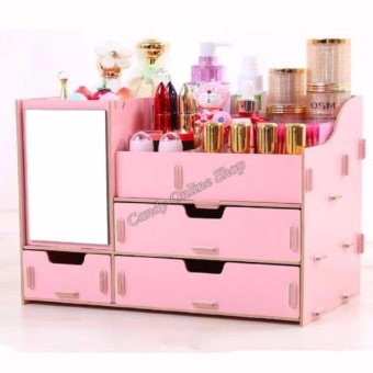 3Layers Desktop Box with Mirror and 3Drawers Cosmetic Make up Removable Organizer Jewelry ( COLOR MAY VARY )