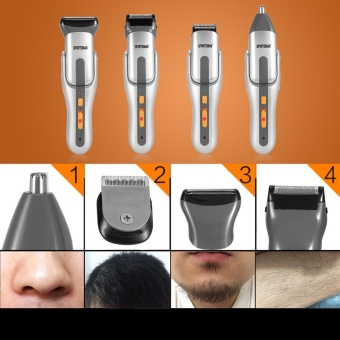 4 in 1 Washable Mens Eletric Nose Hair Clipper Trimmer Bead HairShaver Cutter Set with Comb - intl