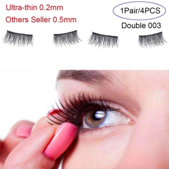 4 Pcs/ Pair Ultra-thin 0.2mm Magnetic False Eyelashes Soft Hair Eyelash Extension(Type:Double 003) - intl