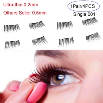 4 Pcs/ Pair Ultra-thin 0.2mm Magnetic False Eyelashes Soft Hair Eyelash Extension(Type:Single 001) - intl