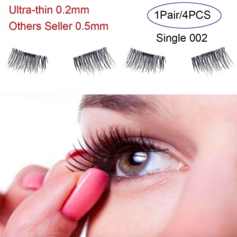4 Pcs/ Pair Ultra-thin 0.2mm Magnetic False Eyelashes Soft Hair Eyelash Extension(Type:Single 002) - intl