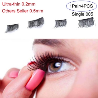 4 Pcs/ Pair Ultra-thin 0.2mm Magnetic False Eyelashes Soft Hair Eyelash Extension(Type:Single 005) - intl
