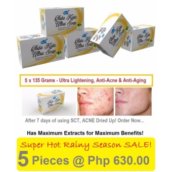 5 Pieces SCT Gluta Kojic Ultra Whitening Soap for Men and Women