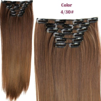 6 Pcs/set Long Straight Hairpiece Wig 16 Clips Heat Resistant Synthetic Hair Extensions - intl