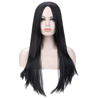 67cm Women Natural Soft Heat Resistant Long Straight Hair Wigs (BLACK) - Intl