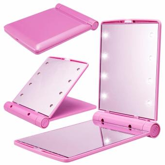 8 LED Vanity Mirror Compact Portable Cosmetic Mini Makeup Mirror(Pink)