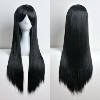 80cm Full Wig Long Straight Wig Cosplay Party Costume Hair Black -intl
