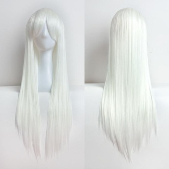 80cm Full Wig Long Straight Wig Cosplay Party Costume Hair White -intl