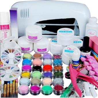 9W UV White Dryer lamp 24 color Acrylic Powder Nail Art Kit Gel Tools - intl
