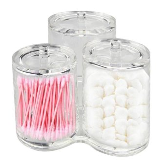 Acrylic Makeup Organizer Cotton Ball & Swab Holder Storage Container Box,Cosmetics Storage Container Box Case(Three) - intl