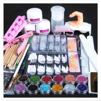 Acrylic Powder Glitter Nail Brush False Finger Pump Nail Art Tools Kit Set - intl