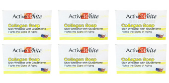 Active White Collagen Soap Skin Whitening with Glutathione 135g,Set of 6