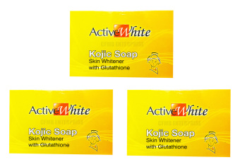 Active White Kojic Soap Skin Whitening with Glutathione 135g, Setof 3