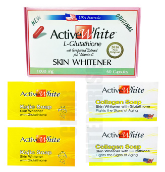 Active White L-Glutathione 60 Capsules and 2 Collagen & 2 KojicSkin Whitening Soap Set