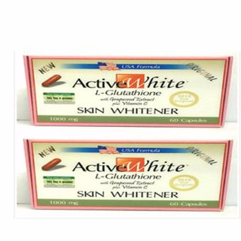 Active White L-Glutathione Skin Whitener 1000mg Capsules Box of 60Set of 2pcs.